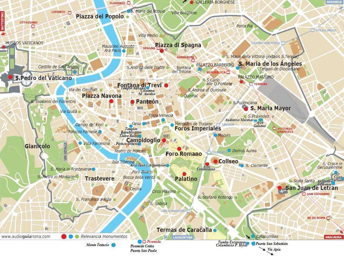 Mapa De Roma Turistico.Mapa Turistico De Roma Italia